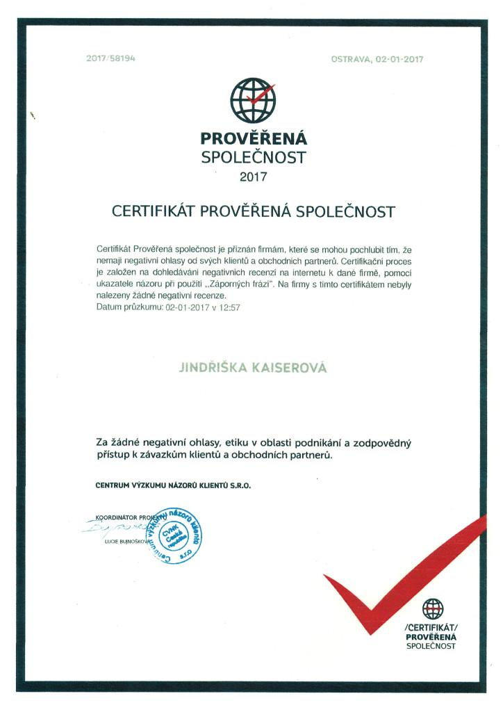 Jindřiška certifikát